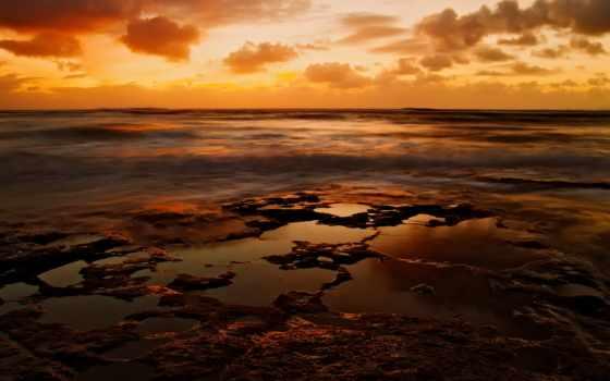 оранжевое, небо, sun, природа, широкоформатные, waves, осеннее,