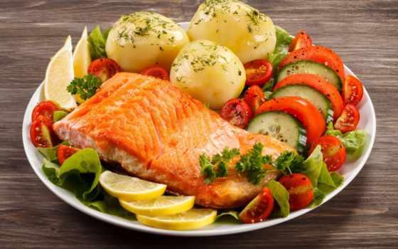 salmon, блюдо, блюда, жареный, помидоры, картофель, нефть, ням, еда, филе,