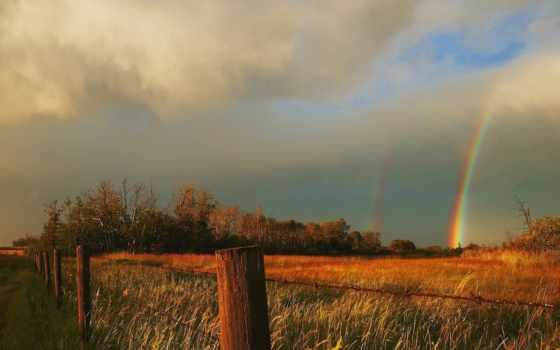 kansas, природа, буря, rainbows, после, лан, free, радуга,