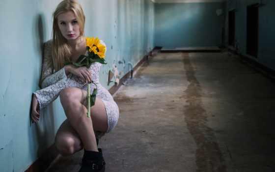 девушка, iphone, цветы, girls, коридор, платье, desktop, free,