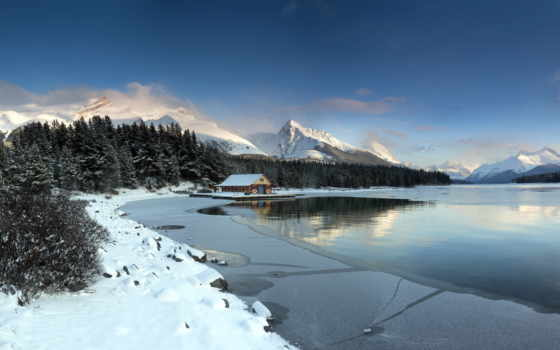 winter, снег, lodge, озеро, лес, сказ, зимняя, around, landscape, горы, дома,