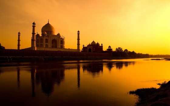 закат, волна, mosque, храм, landmark, agr, indii