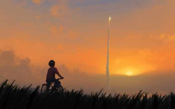 boy, sun, bike, start, закат, тематика, rocket, art, sofia, kenneth, elvis