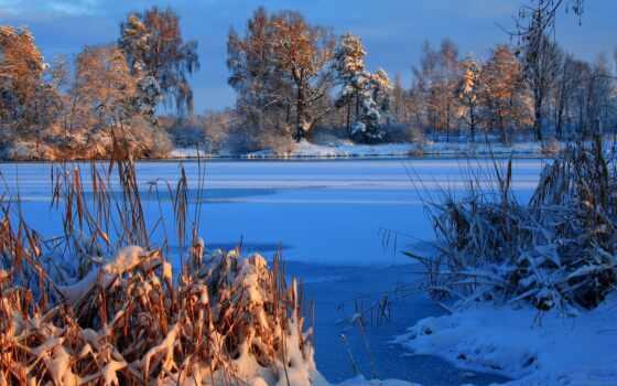winter, река, снег, красивый, свет, landscape, лес
