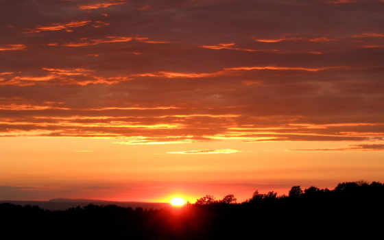 закат, sun, небо
