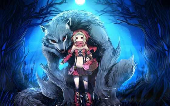 art, волк, красная, шапка, катание, red, капюшон, девушка, little, лес,