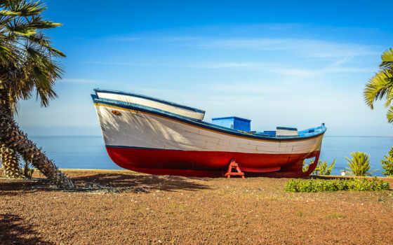 пляж, лодка, мб