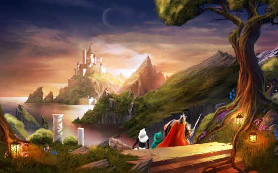 fantasy, горы, castle
