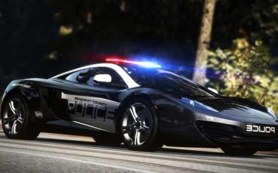 машина, полицейская, черная