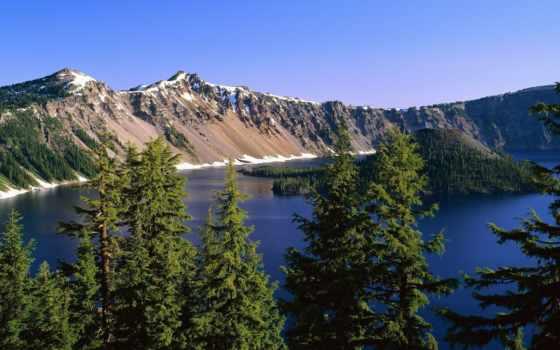 озеро, гора, desktop, crater,