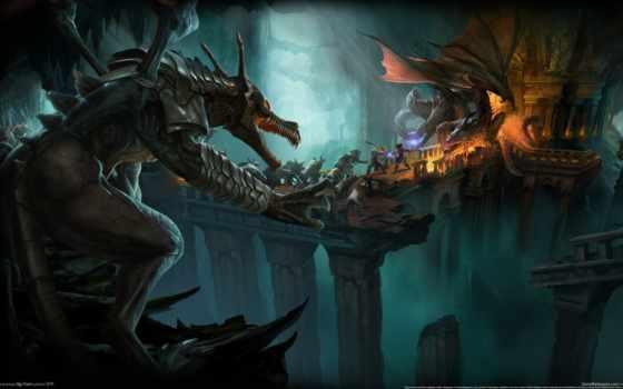 drakensang, река, драконы, подземелье, time, игры, магия, путники, битва,