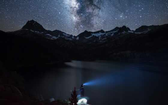 гора, ночь, water, тело, взгляд, близко, спокойствие, white, lighthouse