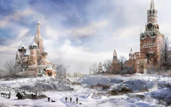 winter, город, разрушения