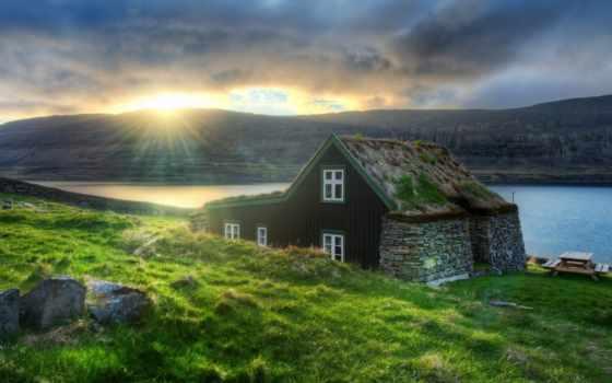 горах, house, озера, lodge, уединения, выбор, best, закате, reykjavik, исландии, рейкявик,