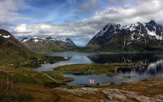 горы, norwegian, природа, снег, озеро, осень, reki, озера, норвегии, остров, природы,