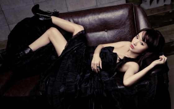 девушка, платье, черном, азиатская, красивая, devushki, чёрное, шатенка, женщина,