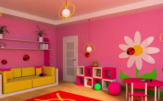 детской, комнате, стен, живопись, комнаты, мебель, изображение, комната, детских, сайте,