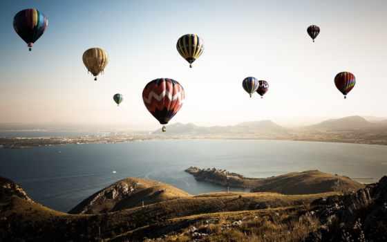 шары, воздушные, мяч, спорт, небо, aerial, полет,
