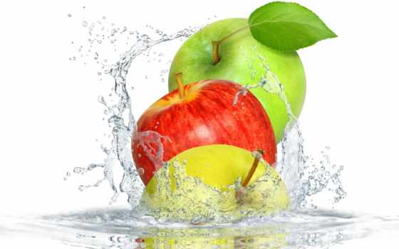 яблоки, брызги, water, еда, фрукты, рисунки, garden,