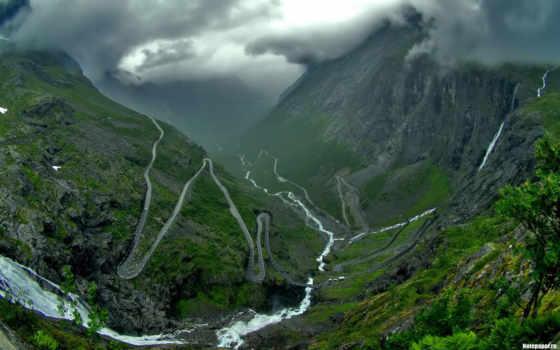norwegian, trollstigen, trolley, лестница, впечатляющие, викингов, страны, пейзажи -, со,