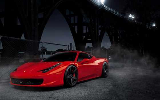 ferrari, italia, red, мост, высоком, машина, широкоформатные,