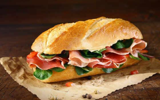бутерброд, назад, багет, салат, корка, covered, поставить, сразу, her, того