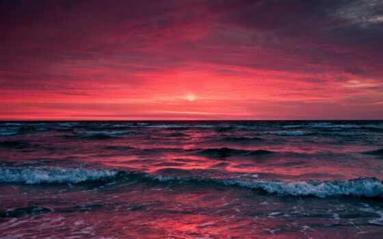 color, море, закат, схема, розовый, волна, палитра, design, blue