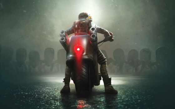 monster, графика, fentezti, мотоцикл, фара, fictional, характер, permission, фон, картинка, russian