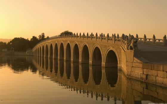 bridge, seventeen, beijing, arch, kunming, lake, hd, мост, река, закат, wallpaper,