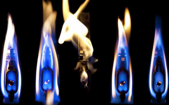 синий, огонь