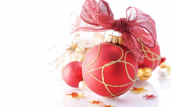 christmas, красный, новый, год, шар, бант, happy,