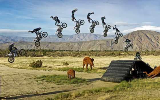 мотоспорт, рэп, мотоциклист, спорт, прыжок, байк, надувные, слоны,