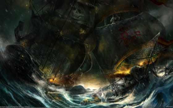 корабли, парусные, рисованные