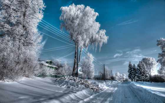 winter, природа, russian, пейзажи -, снег, trees, дорога, картинка,