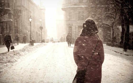 девушка, город, снег, winter, девушек, devushki, blizzard, лица, зимой,