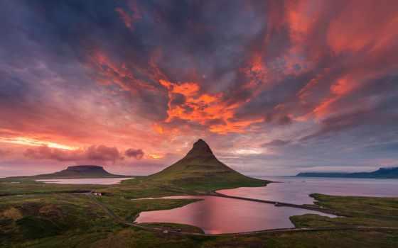 kirkjufell, гора, iceland, небо, summer, водопад, clouds,