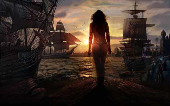 корабли, море, fantasy, закат, девушка, devushki,