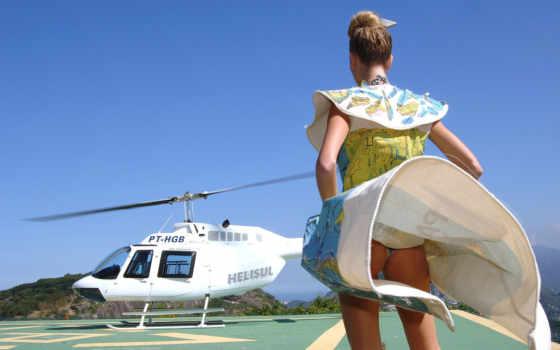 , вертолет, самолет, авиация, юбка, девушка, ветер
