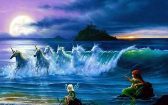 единороги, free, high, mermaid,