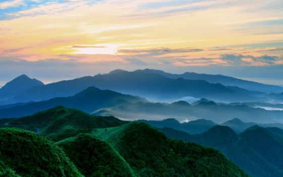 montañas, verdes, природа