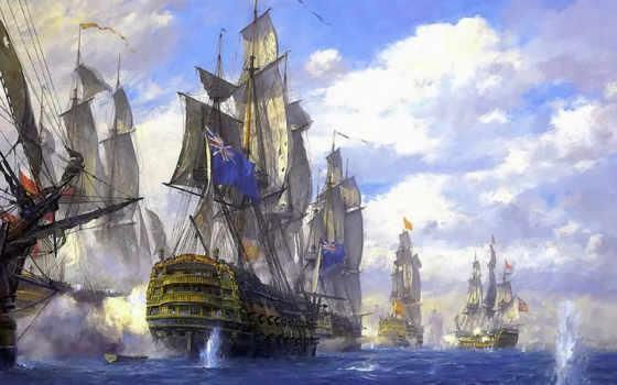 корабли, парусные, кораблей