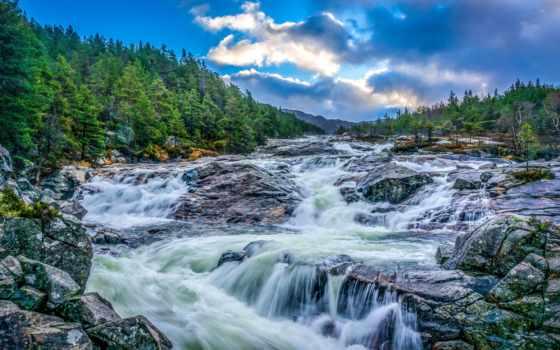 природа, фоны, водопад, страница, река, trees, landscapes, ultra, rylik, растительность,