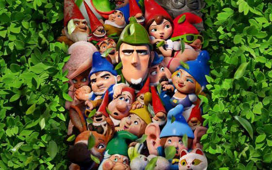 gnomeo, juliet, их, герои, новое, захватывающее, adventure, сегодня, огромном, гномс, sherlock,