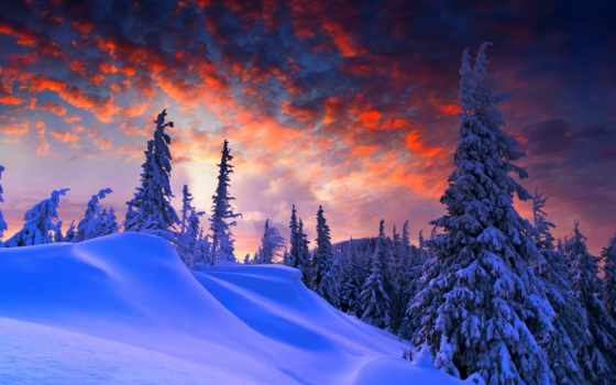 закат, winter, природа, снег, коллекция, romantic, облако, небо, рассвет