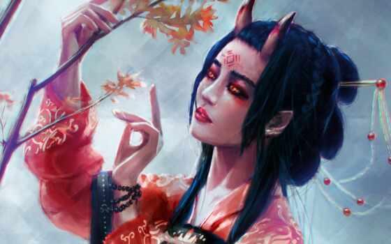 демон, art, девушка, рогатый, характер, fantasy, огонь, аватар, mobile, coder, стена