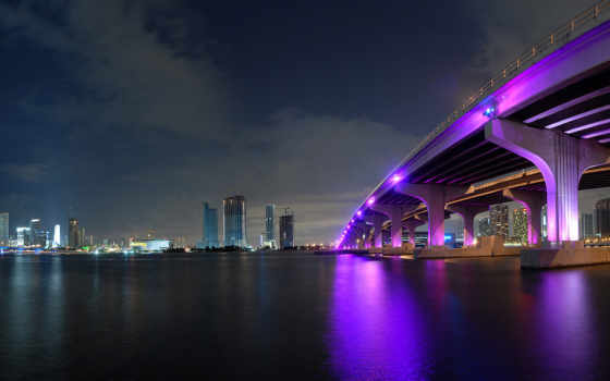 город, ночь, мост Фон № 125825 разрешение 1920x1080