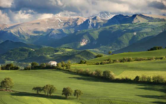 горы, lodge, oblaka, поле, небо, italian, trees, страница, природа,