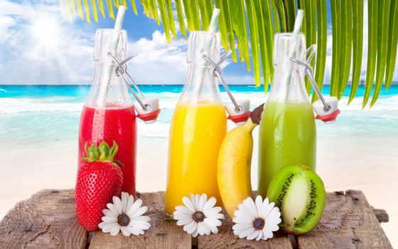 море, пляж, коктейли, коктейль, напитки, киви, клубника, небо, фрукты, sun,