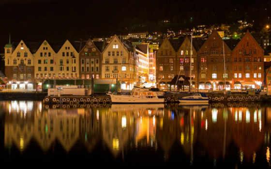 город, ночь, море, города, ночного,