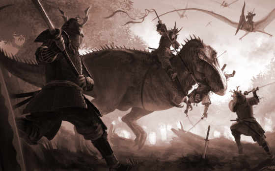 pangolin, art, битва, динозавр, фантастика, птеродактиль, широкоформатные, воин,